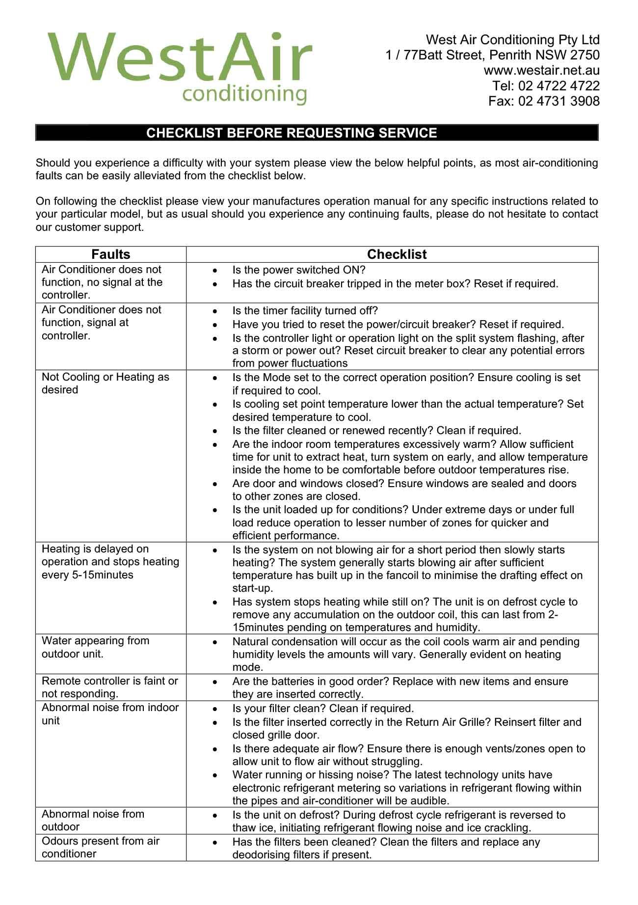 Diagnostic Checklist West Air Conditioning